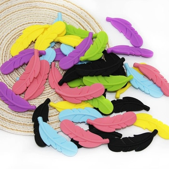 Cute-Idea 100PCs Silicone Beads Feather Teether BPA Free Rodents Teething Necklace Food Grade Infant Chewable Toys Baby Teether