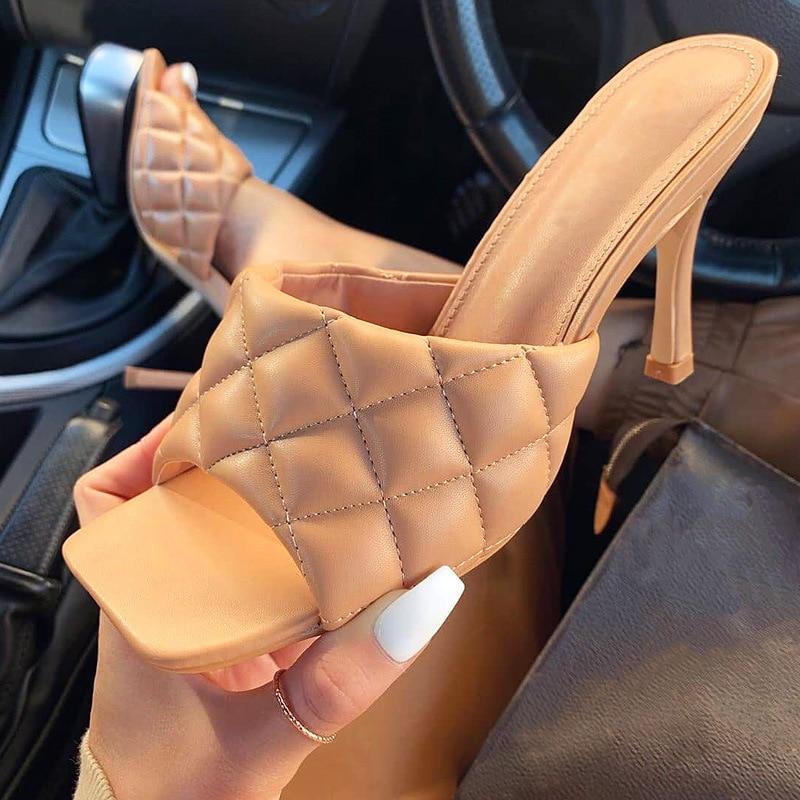 MHYONS Vintage Platz Zehe Pantoffel Sandalen Frauen Solide Gingham Hohe Ferse frauen Sandalen Block Ferse Damen Schuhe Frauen Sandalen