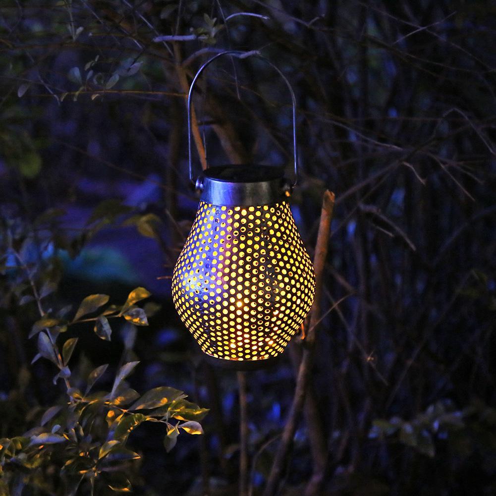 Farol LED de energía Solar Retro ahuecado para exteriores, lámpara colgante para jardín, sombra impermeable, luz Solar para paisaje de césped, decoración para jardín