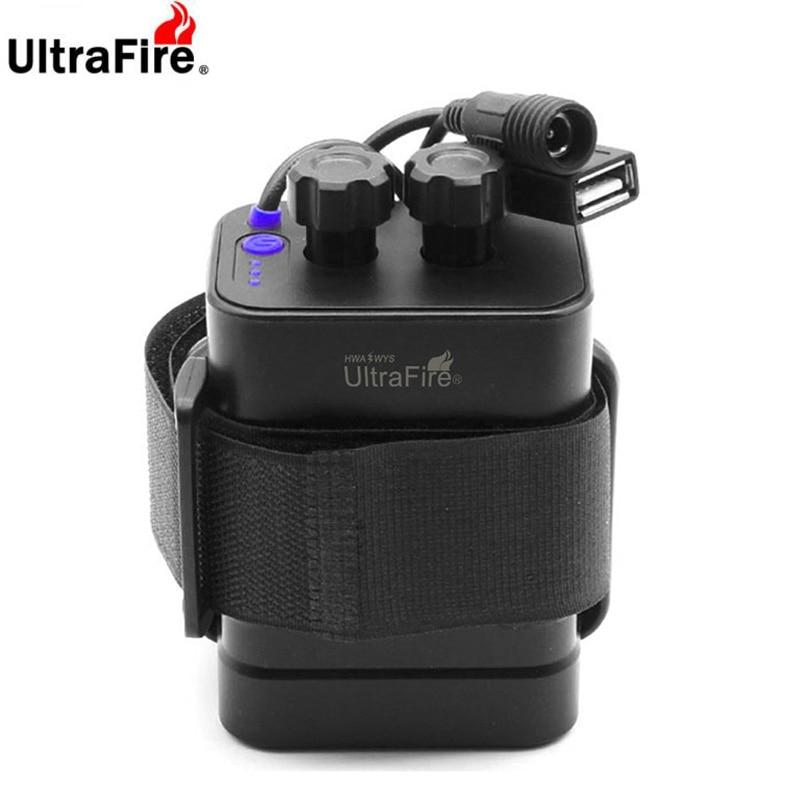UltraFire الأصلي 6 قسم 18650 مقاوم للماء صندوق بطارية 18650 USB بطارية حزمة 5 فولت/8.4 فولت USB/تيار مستمر واجهة مزدوجة في الهواء الطلق الدراجات