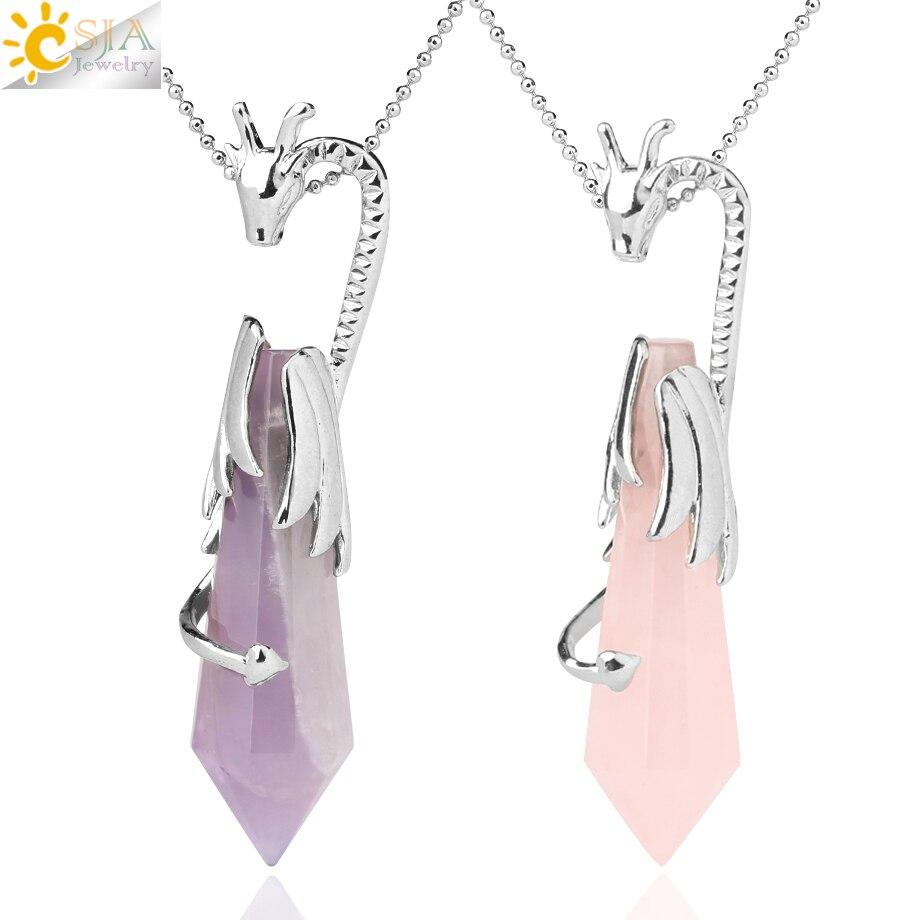 Collares con colgante de pilar de cristal Natural CSJA, colgante de dragón de cuarzo rosa con 12 puntas facetadas, joyería curativa Reiki para hombres y mujeres G589