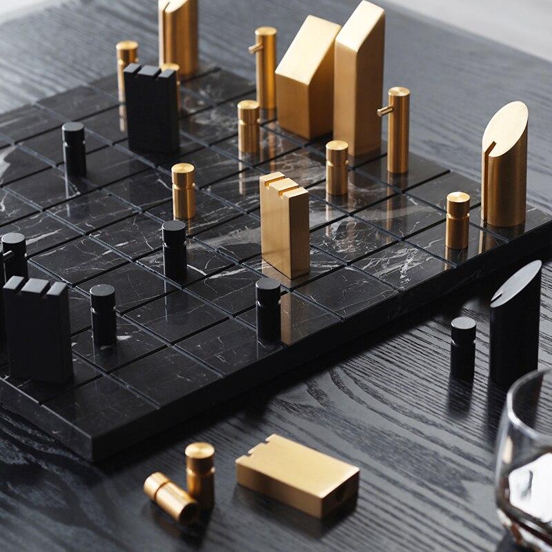 إكسسوارات ديكور منزلي الشمال مجردة الشطرنج الإبداعية تمثال غرفة المعيشة زخرفة الأشياء آلة نحت الرخام هدية