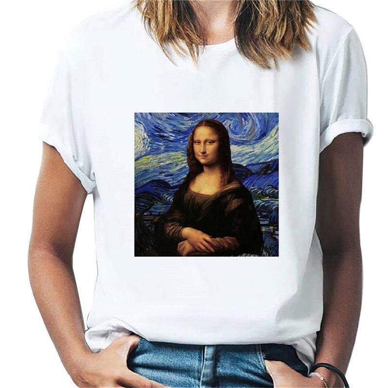 Забавная модная женская футболка с художественным принтом 2021, летняя повседневная Уличная одежда унисекс с коротким рукавом, футболка в ст...