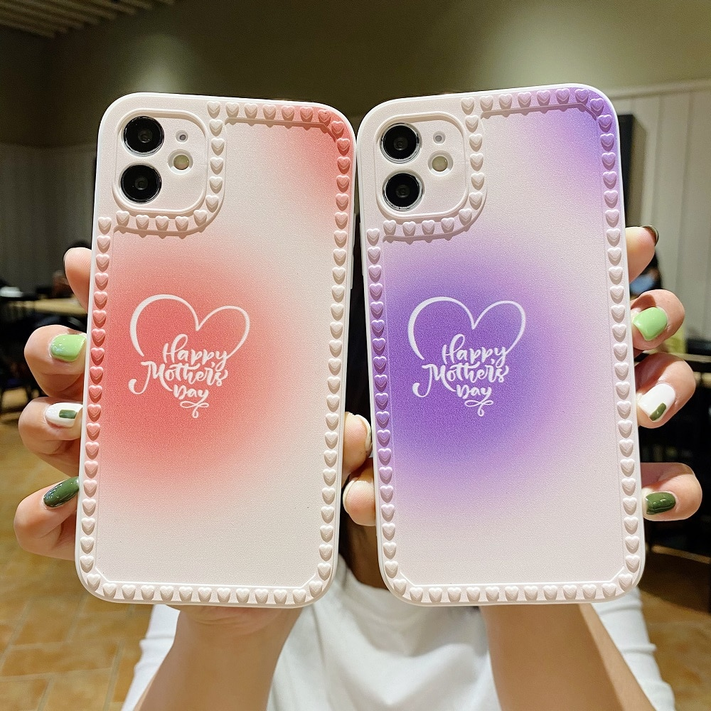 3D Case For iPhone 12 Mini 11 Pro Max XR X XS Max 7 8 6S 6 Plus Silicone Case Cover Painted Heart Sm