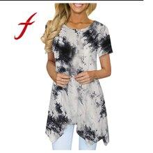 Feitong Women Marble Tie Dye Print T Shirt Ladies Short Sleeve Irregular Hem Asymmetrical Summer Tshirt Loose Fit Tunic Tops