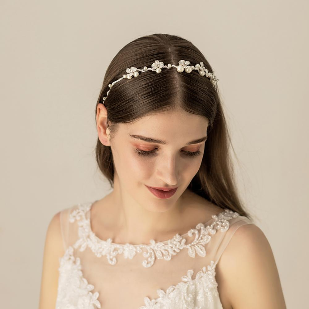 O528 Floral Silver Plated Artificial Pearls Wedding Bridal Hairbands High Quality Ornaments Tiara Crown For Bride