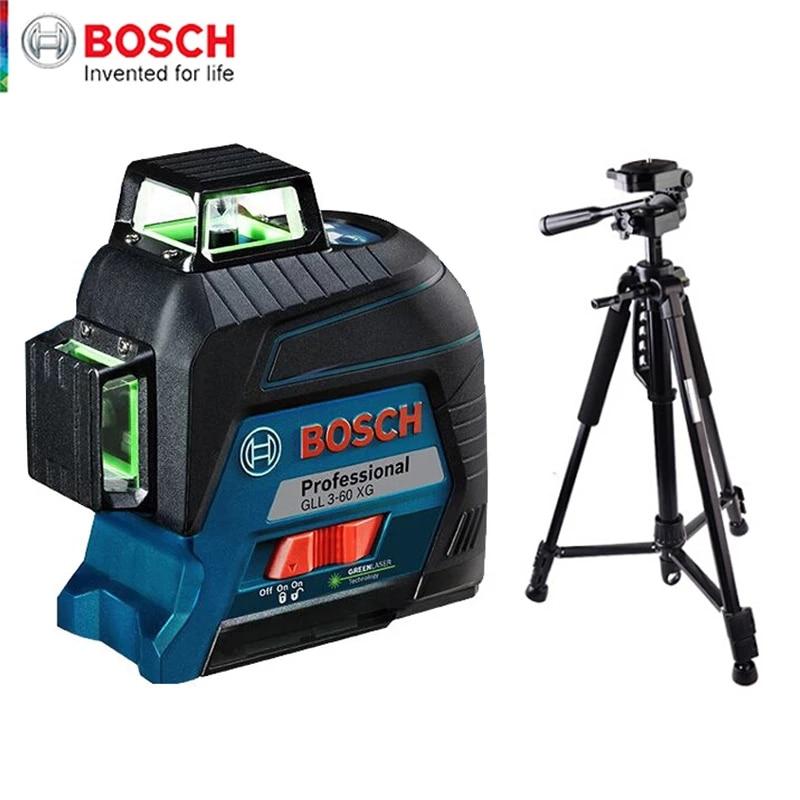 Лазерный уровень Bosch, зеленый 12-линейный маркер, вертикальный и горизонтальный, для помещений и улицы, общий вспомогательный инструмент, выс...