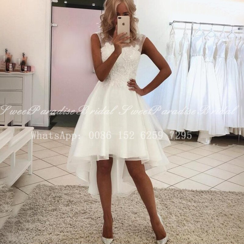 2020 Short High Low Wedding Dress White Lace A Line Sheer Neck Illusion Back Bohemia Beach Dresses Bridal Gown Vestidos
