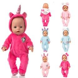 Fit 18 zoll 43cm Puppe Kleidung Geboren Baby Einhorn Kätzchen und Pony Puppe Kleidung Anzug Für Baby Geburtstag Festival geschenk