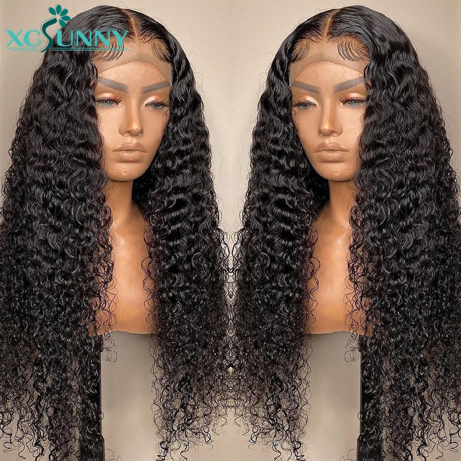 Curly Lace Front Wig Human Hair 13x6 HD Transparent Lace Frontal Wig Pre Plucked Deep Part 180 Density Remy Brazilian Xcsunny