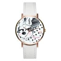 Новые женские часы Минни Маус кварцевые наручные часы розовые белые кожаные Ремешки для наручных часов модный мультфильм девушка таймер