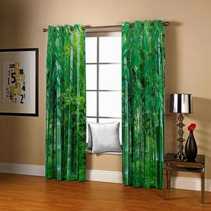 3D Bamboo Curtains Green Blackout Curtains For Living Room Bedroom Modern Printed Silk Thick Curtains