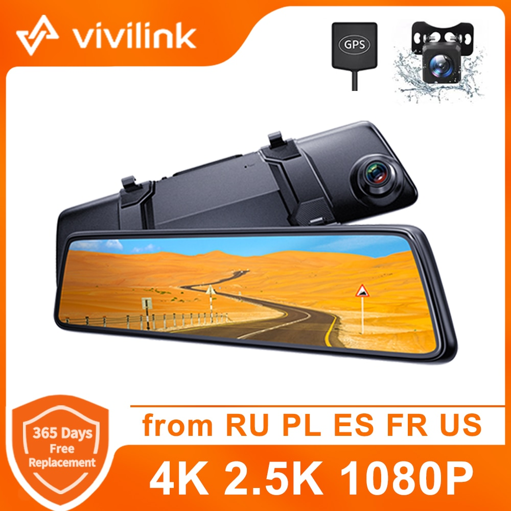 Vivilink Dash Cam 4K Mirror Car DVR Driving Recorder Touch Screen GPS DashCam Rear View Camera Voice Control 24h Parking Monitor