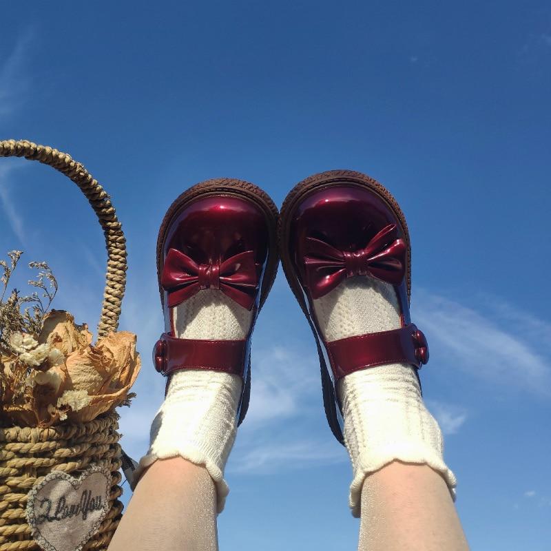 حذاء باليرينا من الجلد الصناعي اللامع للفتيات والنساء ، تأثيري ياباني كاواي ، نمط Harajuku ، مسطح ، فيلكرو ، لوليتا