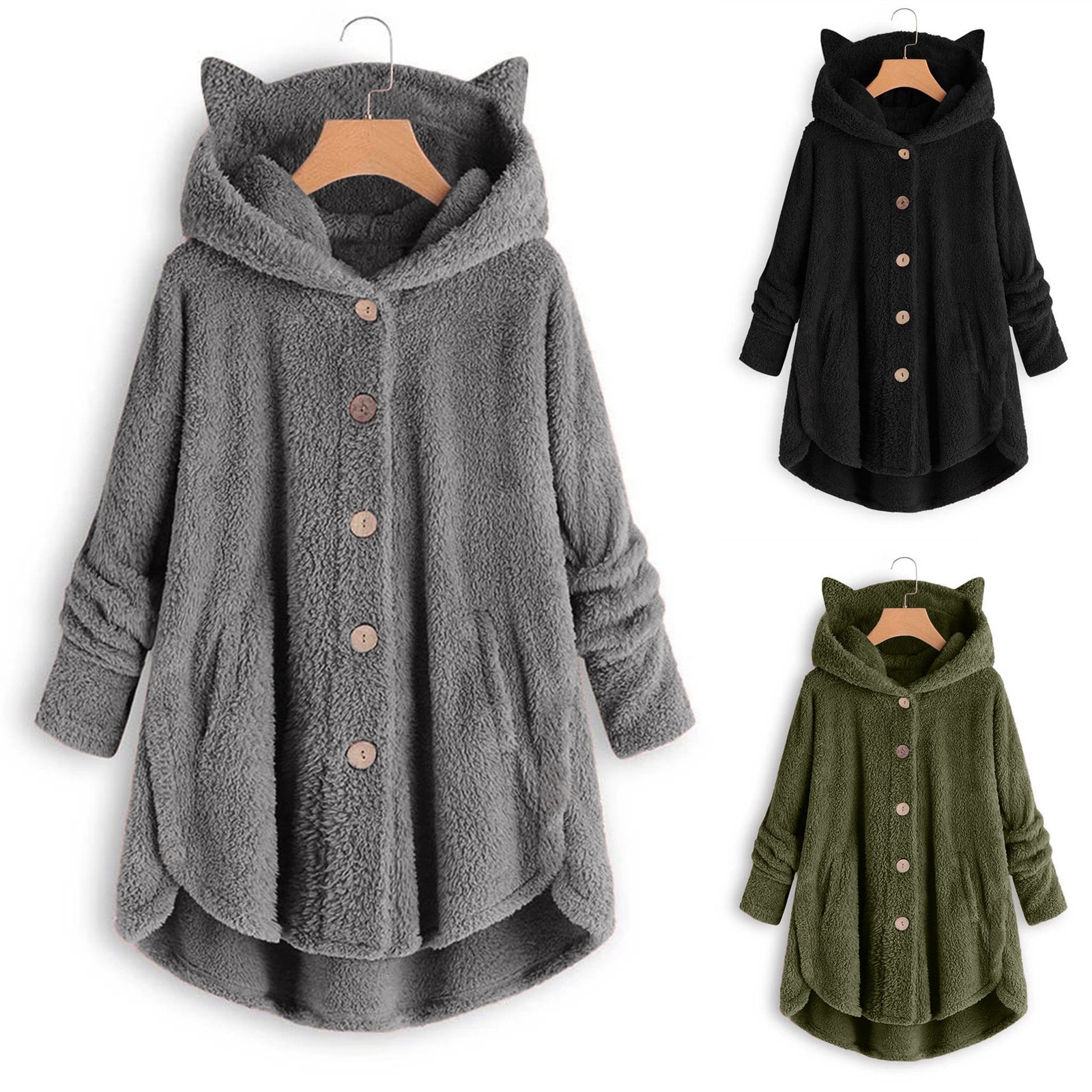 Autumn and Winter New Fashion Women s Button Plush Top Irregular Brand Solid Color Coat