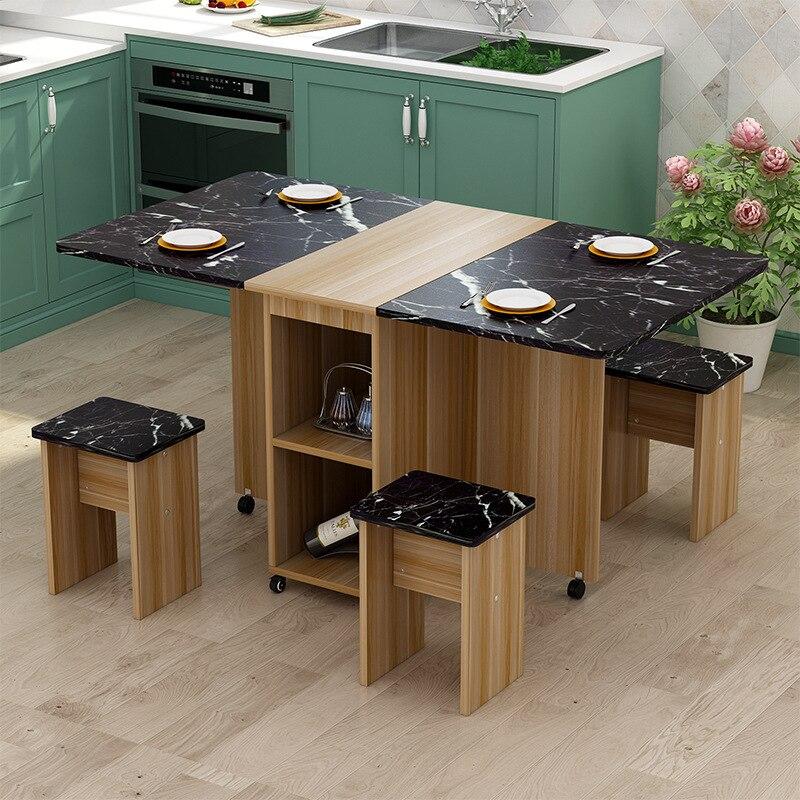 خزانة مطبخ خشبية متعددة الوظائف مع 4 مقاعد متطابقة وطاولة طعام عائلية حديثة