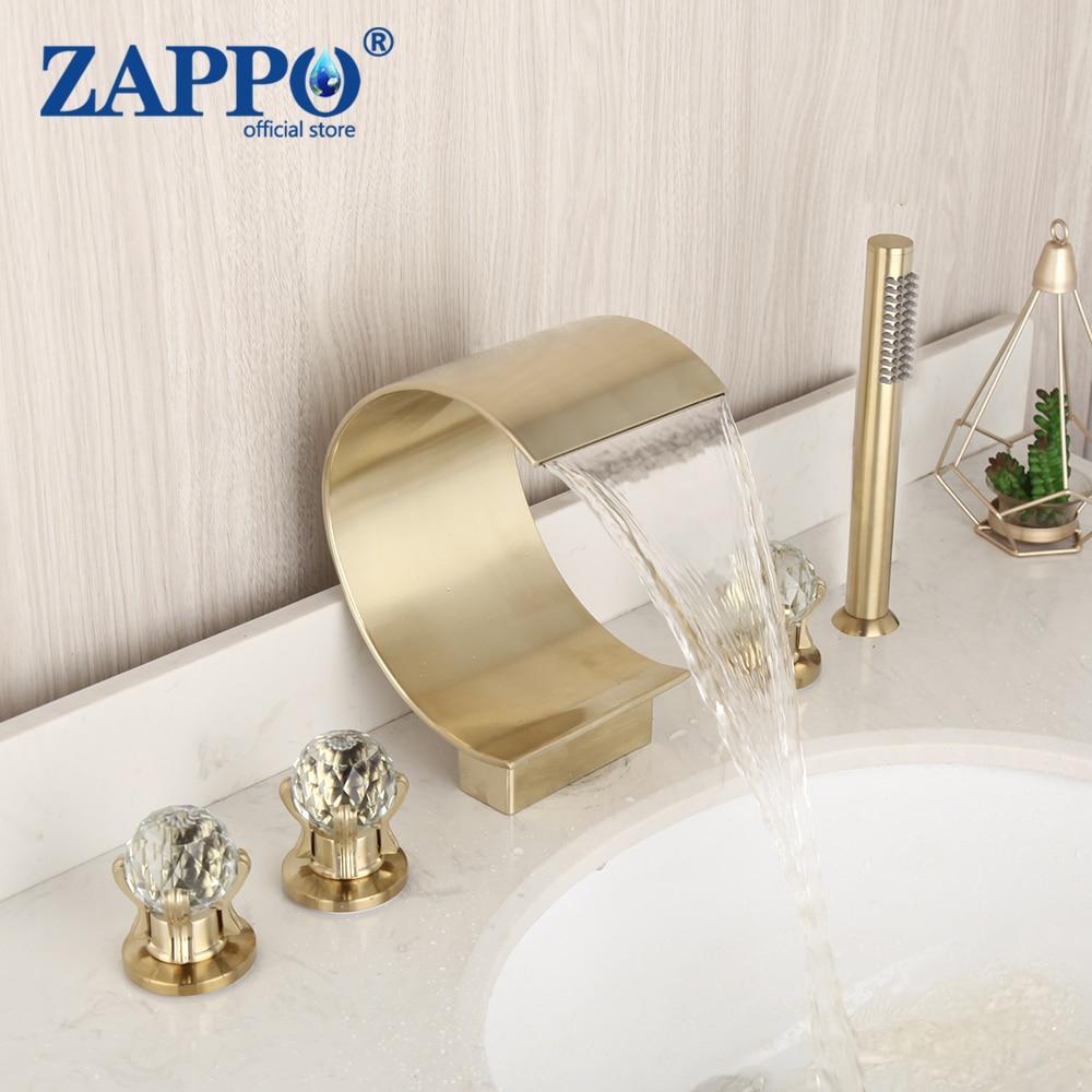 ZAPPO فرشاة الذهب شلال صنبور 5 قطعة صنبور حوض استحمام الكروم الانتهاء خلاط الصنابير الفقرة الحمام دش الحنفيات ث/handshow