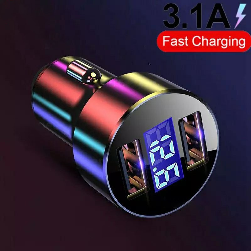 Getihu 3.1a carregador de carro usb duplo display led carregamento rápido universal do telefone móvel para o iphone 11 pro x xr max 6 7 8 xiaomi huawei