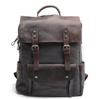 hot new multifunction fashion men backpack vintage canvas backpack leather school bag neutral portable wearproof travel bag