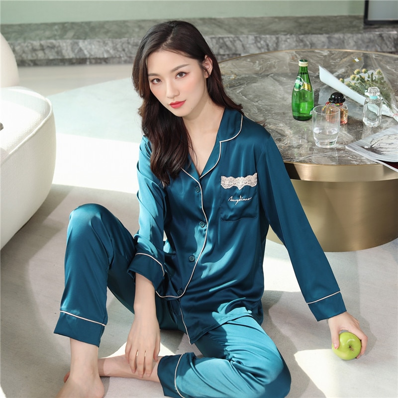 Pijama de Seda Primavera e Outono Manga Longa Duas Peças Senhoras Lapela Tamanho Grande Agasalho
