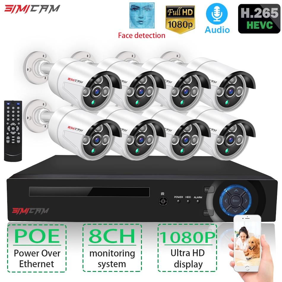 Câmera de segurança 2/8 chanelpoe cctv sistema nvr kit 1080 p hd câmera ip vídeo ircut 2mp hd poe de vigilância de vídeo de segurança em casa conjunto