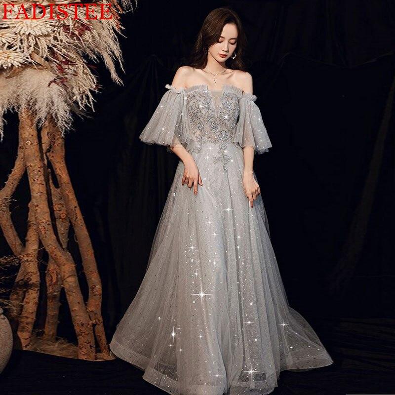 فستان سهرة رمادي جذاب برقبة قارب للحفلات الراقصة رداء De Soirée De Mariage Longue فستان رسمي suknie wieczorowлата 2021