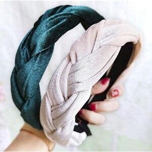 Women Weaving Braids Headbands Velvet Winter Headwear Ladies Elegant Hairbands Party Dress Match Headdress Head Band Hair Hoop