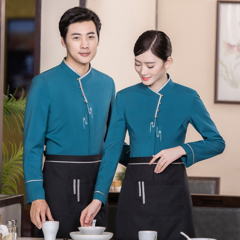 Uniforme de mesero de granja para mujer, uniforme de mesero para restaurante chino, mono de trabajo, manga larga, café, uniforme de camarera, comida, Chef, ropa