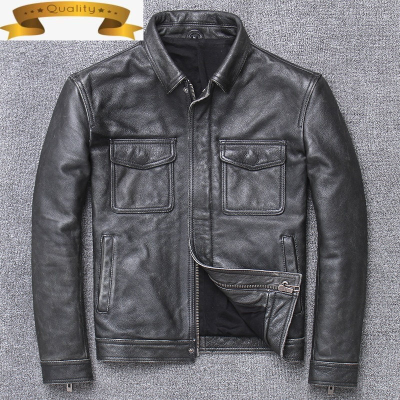 Genuine Leather Men Jacket Real Cow Leather Coat Spring and Autumn Slim Short Casual Long Sleeve Jacket Popular 2021 U-1910
