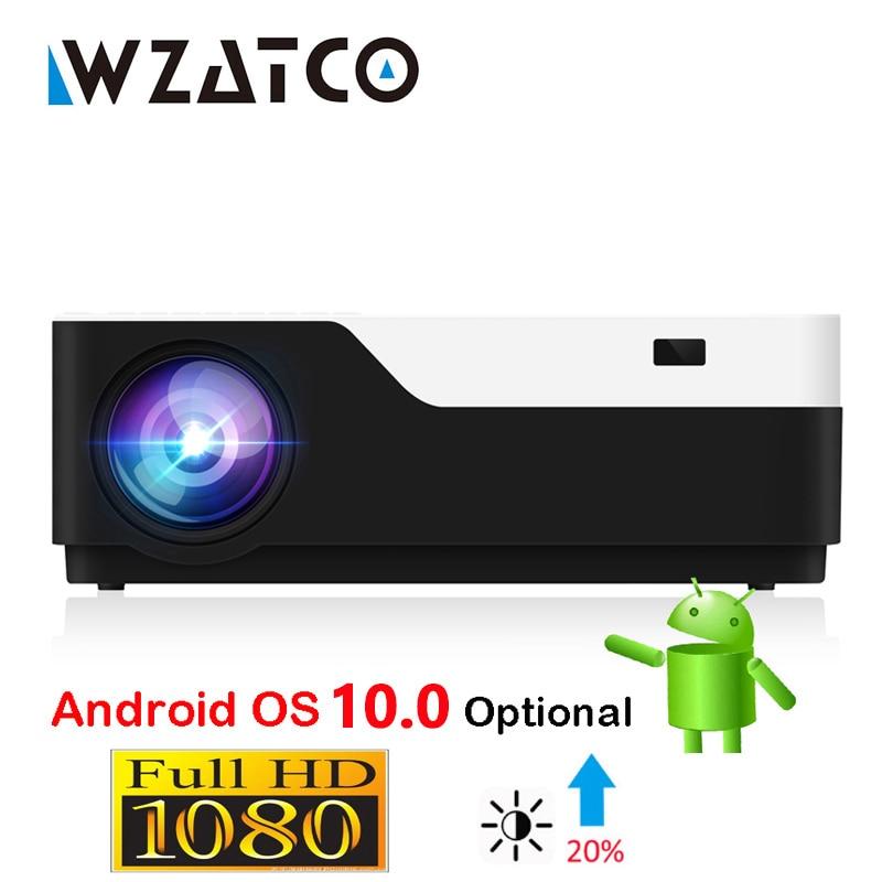 WZATCO M18 كامل HD العارض 1920x1080P المحمولة جهاز عرض (بروجكتور) ليد AC3 المسرح المنزلي 5500 لومينز الروبوت 10.0 WIFI اختياري Proyector