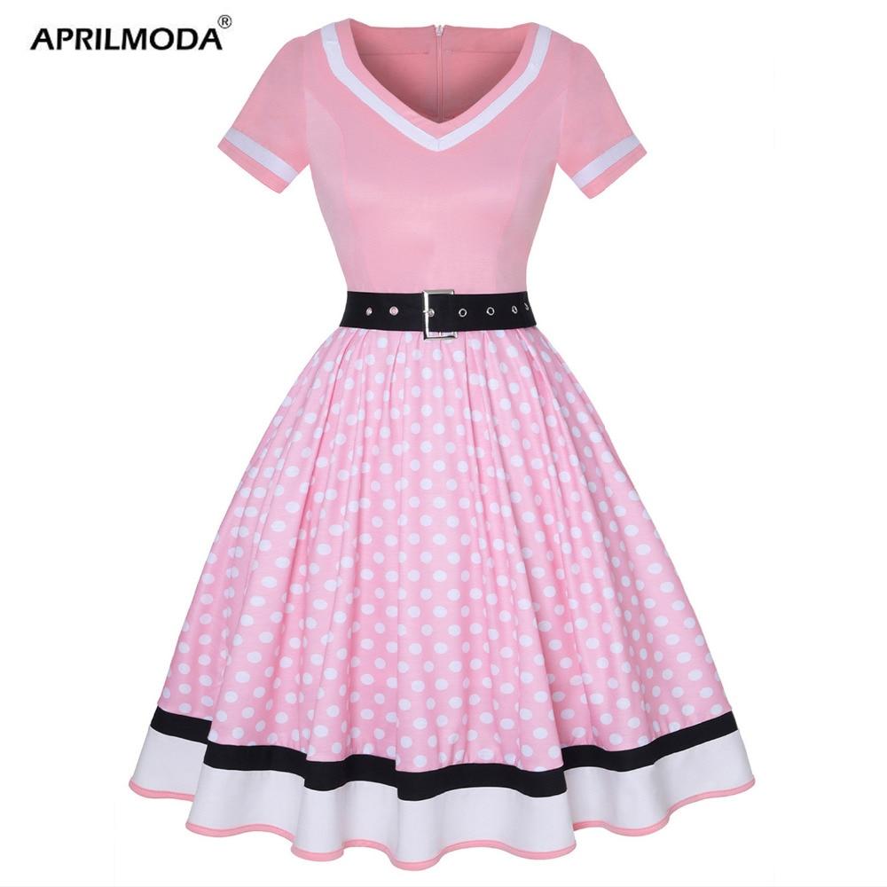 Vestido de talla grande para mujer, Vestido de dibujo de lunares Vintage con cuello en V y cinturón de manga corta, Vestido de fiesta de los 50 con Pin Up