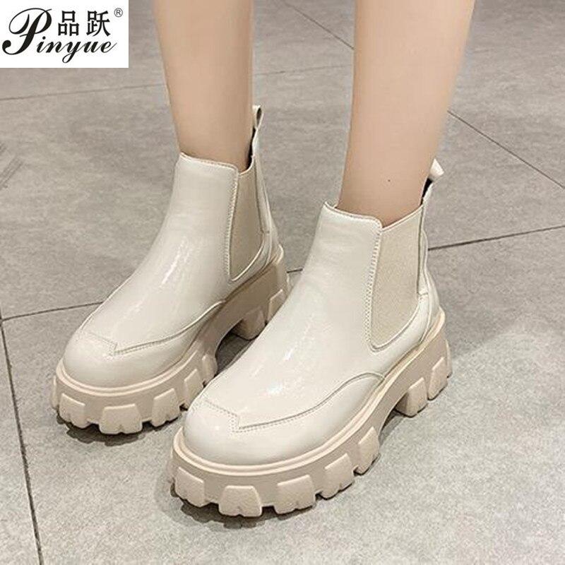 حذاء نسائي تشيلسي بنعل سميك ، حذاء مسطح ، مقاوم للماء ، لفصل الخريف والشتاء