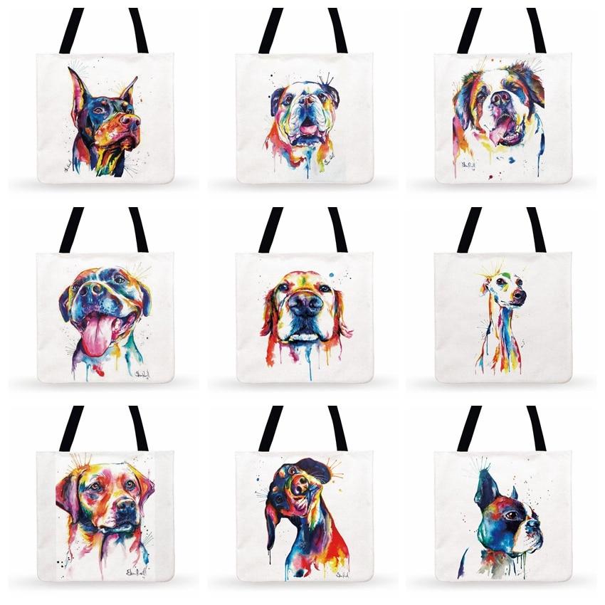 Bolso de mano con estampado de perro mascota acuarela para mujer, bolso de hombro informal para mujer, bolso de compras plegable, bolso de playa al aire libre