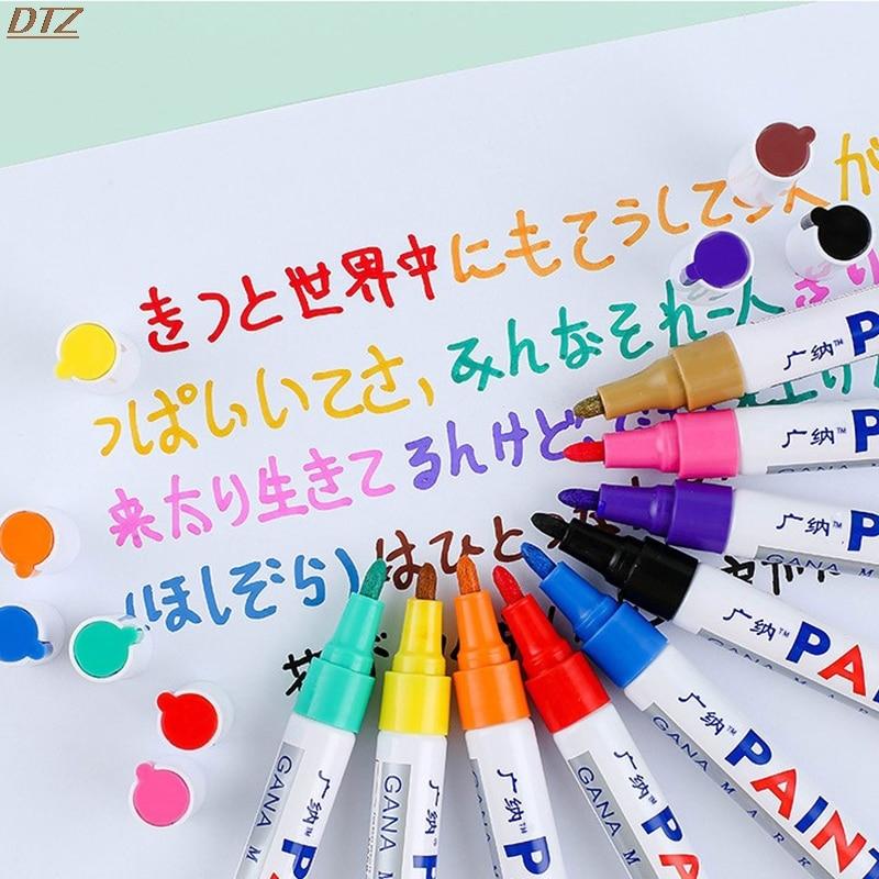 12 стеки/Партия Красочные Водонепроницаемый ручка автомобильные шины металлический перманентные маркер-краски Прямая доставка