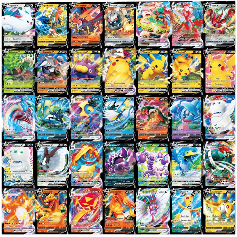 New Pokemon Card Featuring 60 VMAX Game Battle Carte Trading  English Version 200 GX Tag Team 30 EX MEGA 20 ENERGY Shining Cards