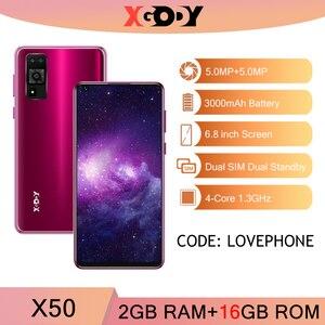 XGODY X50 3G мобильный телефон 2 Гб 16 Гб Смартфон Android 10 Мобильный телефон 3000 мАч разблокировка GPS WiFi Две sim-карты четырехъядерный 6,5 ''2020 Новый