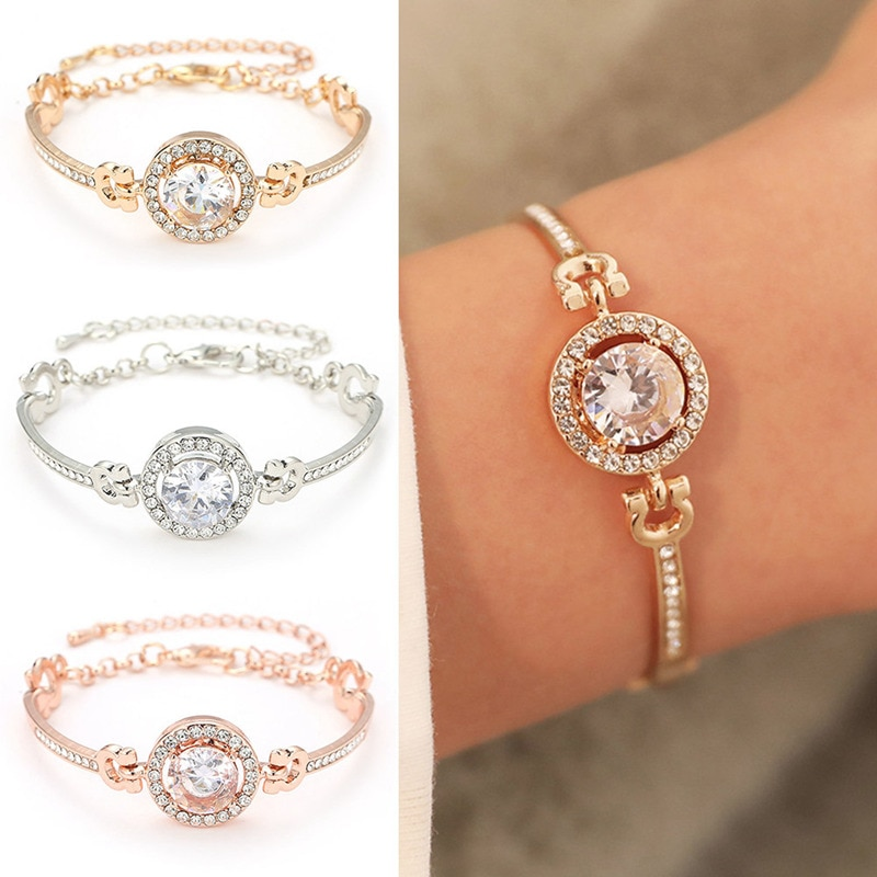 2019 Hot Fashion Luxury Rhinestone Zircon Multi-Layer Bangle Bracelet Rhinestone Charm Bracelets for Womens mens Girls best Gift
