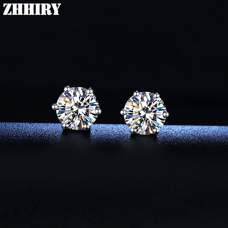 Review ZHHIRY Real Moissanite 18k White Gold Stud Earring For Women Total 2.4ct Each 1.2ct 7*7mm Round Cut D VVS Fine Jewelry