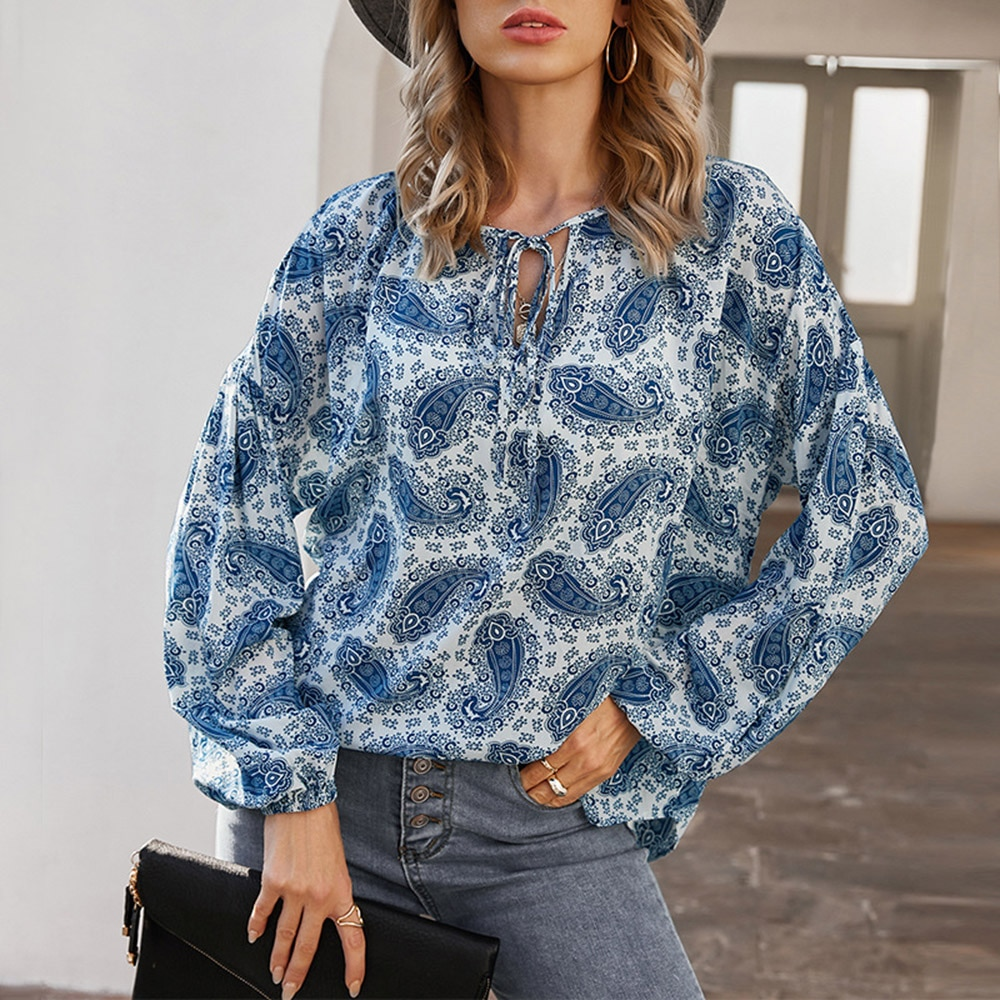 Blouse 2021 New Style Spring And Summer Long-sleeved Retro Printed Thin Women Mid-Length Lantern Sleeve Clothes