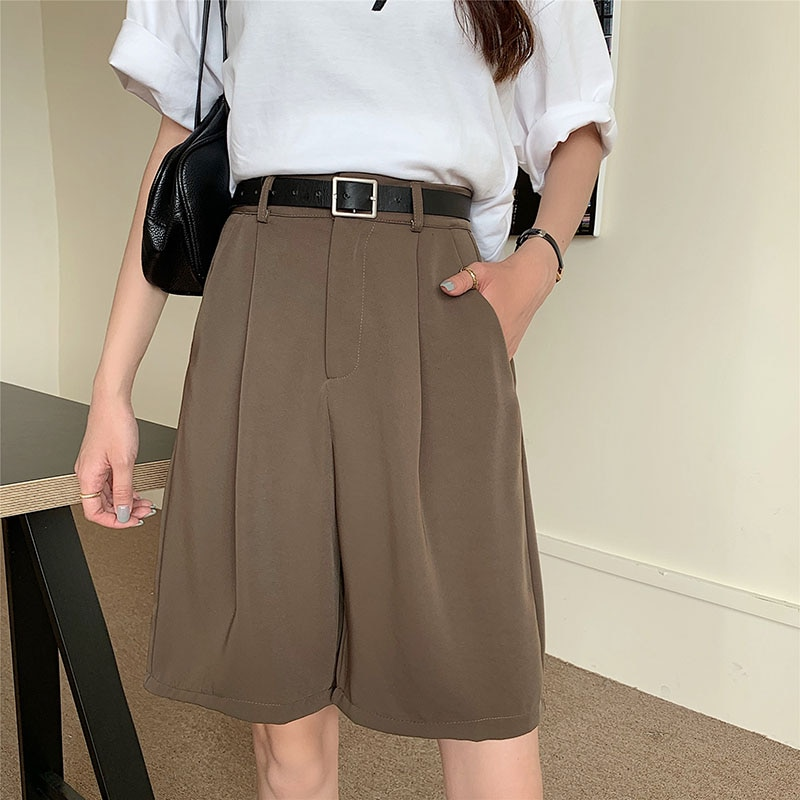 Khaki Loose Suit Shorts For Women With Belt Summer 2021 High Waist Straight Wide Leg Knee Length Woman Pants Black Bottoms