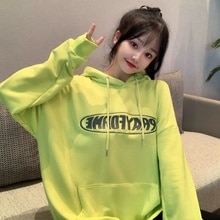 Women Hoodies Korean Harajuku BF Letter Print 2021 Autumn Winter Unisex Thick Long Sleeve Pullover L