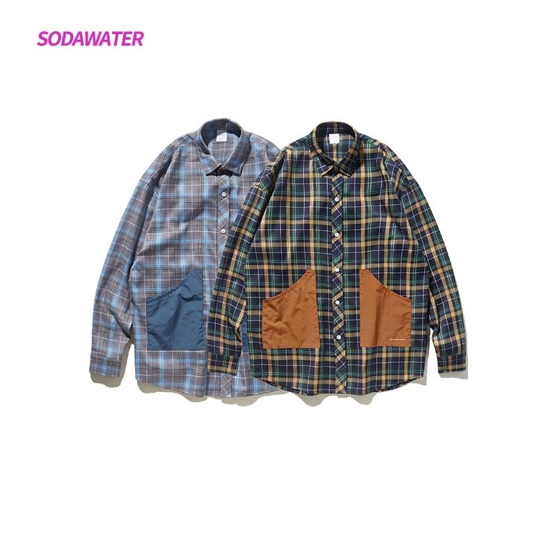 SODAWATER niña Plaid camisa Streetwear Oversize de las mujeres Tops y blusas Japón estilo camisa de manga larga de retales damas 9294W