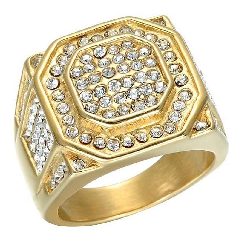 Anillo de oro cuadrado de diamantes de imitación HNSP a la moda para hombre, joyería de compromiso de boda para hombre
