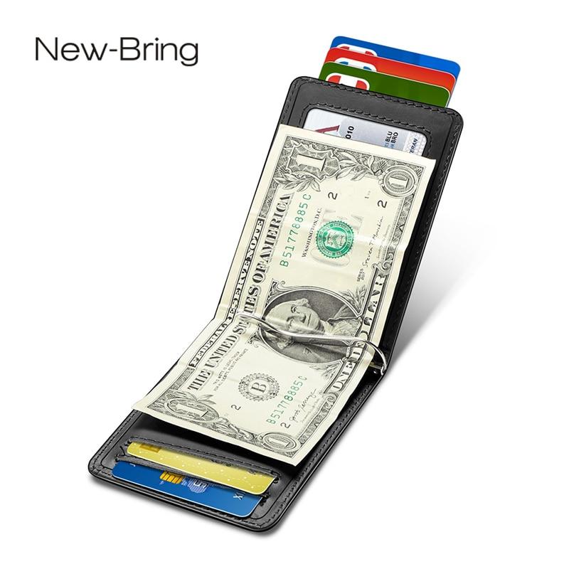 NewBring Card Case Black Cow Leather Wallet Money Clip RFID Block Driver License Cash OrganizerMen Business Credit Cardholder