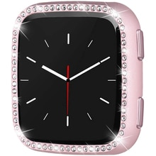 for Fitbit Versa 2 Case Bling Glossy Girl Dressy Crystal Diamonds PC Protective Bumper Watch Cover C