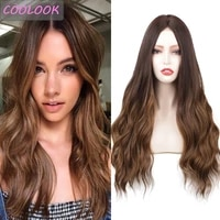ombre brown wavy lace wig 22 long body wave lace front wigs for women synthetic fibre false hair natural wave hair wig cosplay