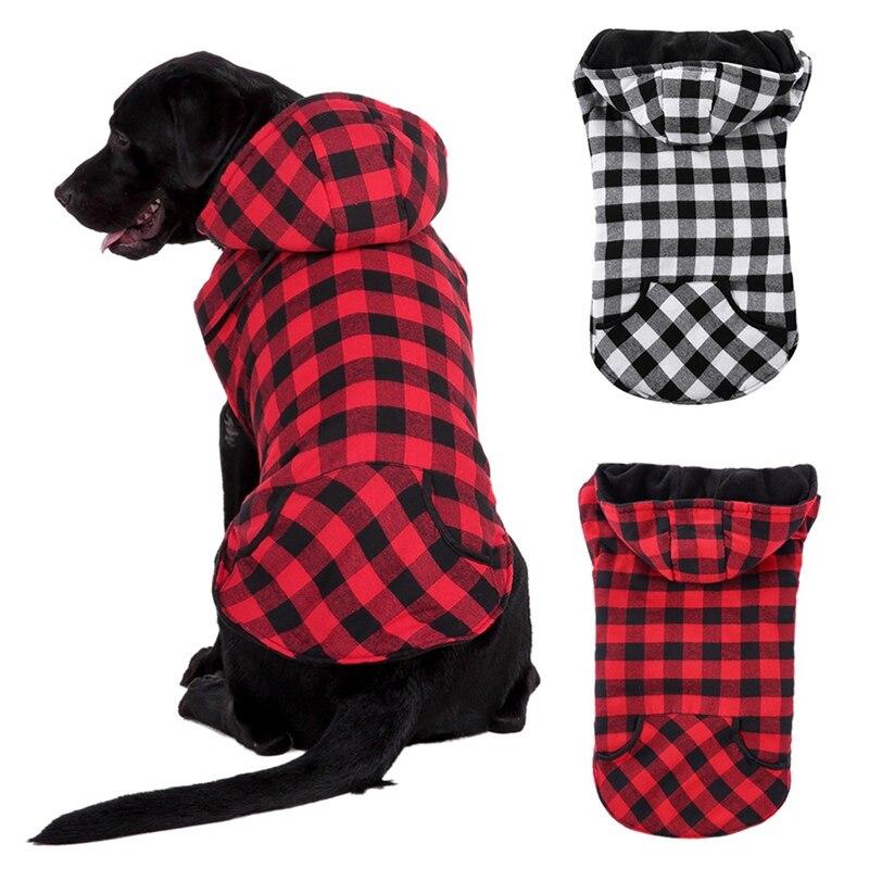 Ropa de invierno para perros grandes, chaquetas a cuadros con forro polar para perros grandes, ropa a prueba de viento para perros