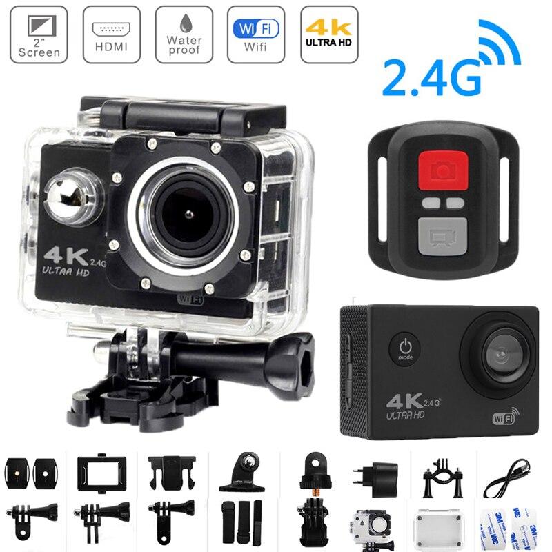 4K الترا HD عمل كاميرا كام واي فاي التحكم عن بعد 12MP كاميرا رقمية 170 زاوية واسعة مقاوم للماء تحت الماء 30 متر DV كاميرا رياضية