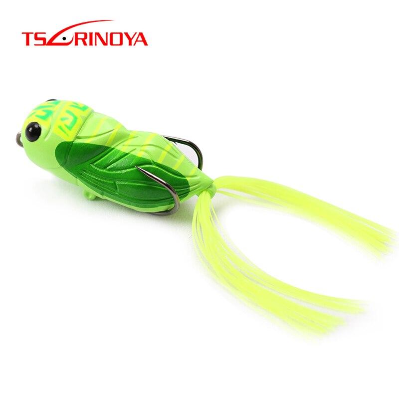 Señuelo de pesca TSURINOYA LY21 cigarra Rana 15,5g 65mm Rana Artificial Popper insecto señuelo Topwater Floating ranas cebo blando