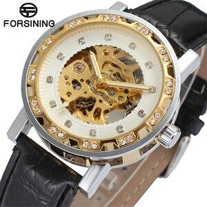 Часы наручные FORSINING Мужские механические, брендовые роскошные классические золотистые, с кожаным ремешком и бриллиантами